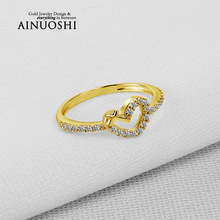 AINUOSHI 10K Solid Yellow Gold Engagement Rings Heart Shape Cross Unique Design Anelli Simulated Diamond Women Wedding Ring Band