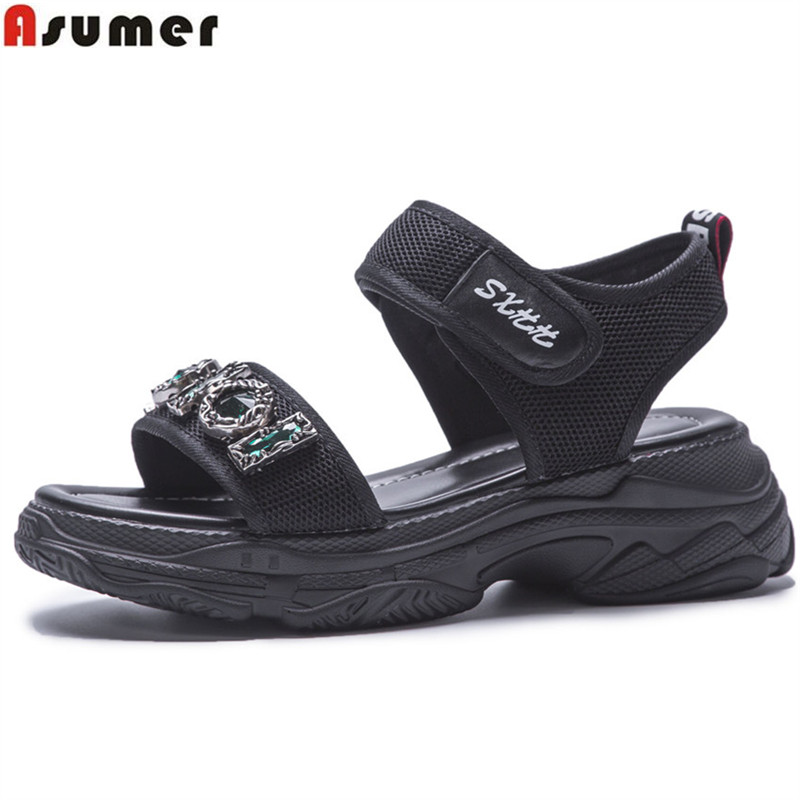 ASUMER black white fashion summer new shoes woman flat platform casual sandals women crystal comfortable big size 35-42 women s shoes 2017 summer new fashion footwear women s air network flat shoes breathable comfortable casual shoes jdt103