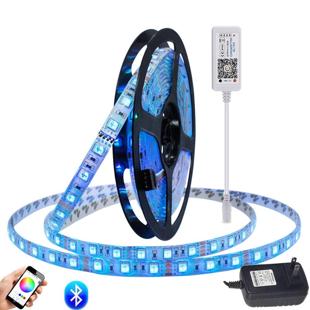 RGBWW LED Strip Light Kit Waterproof LED Tape Strip RGB Rope Flexible LED Light Bluetooth Smar APP Controller DC12V Power in LED Strips from Lights Lighting