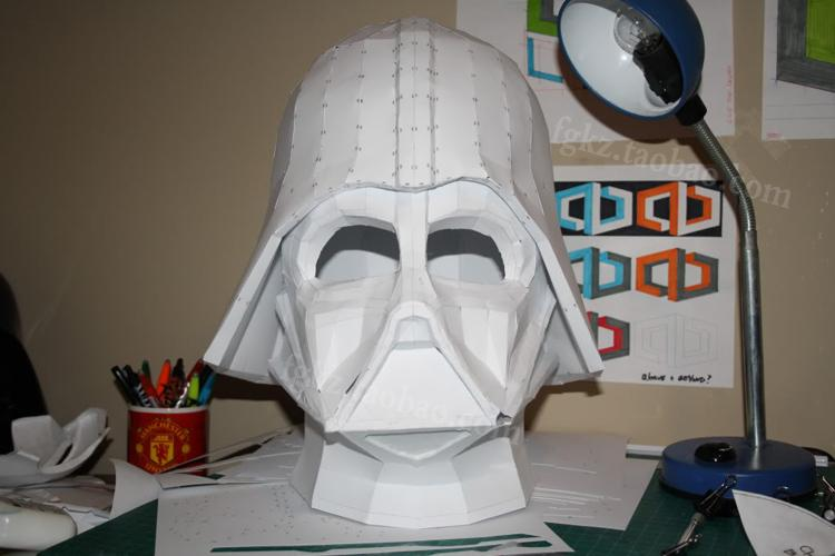 paper model star darth vader helmet 1 1 can wearable