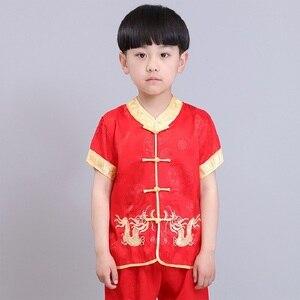 Image 4 - 中国の伝統的な子供のカンフースーツ唐服セット刺繍ドラゴン男の赤ちゃんカーディガンtシャツズボン新年のコスチューム