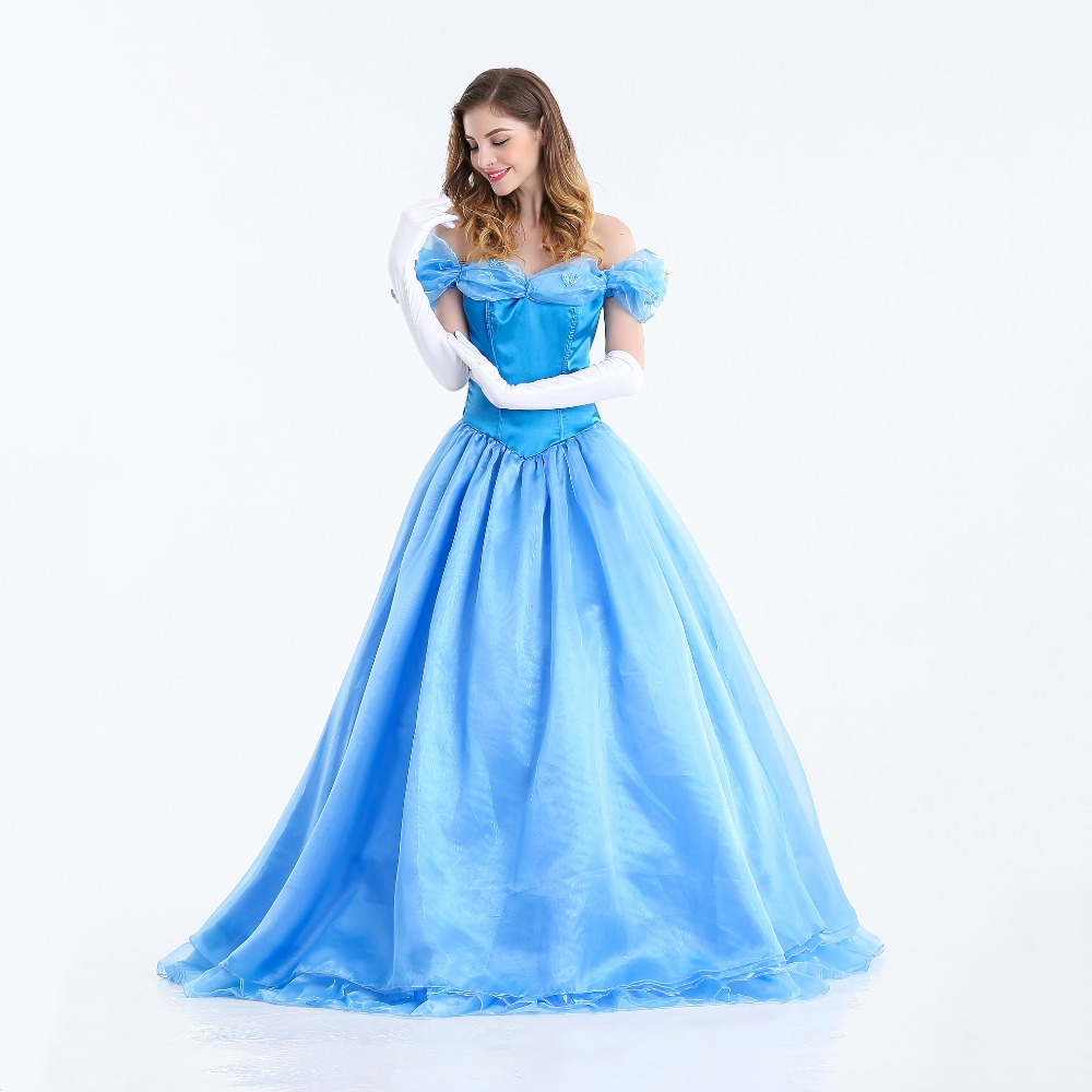 VASHEJIANG Deluxe Adult Cinderella Costume Women Fancy Dress Ball Gown Halloween Princess Costume Role Play Carnival Sexy Party