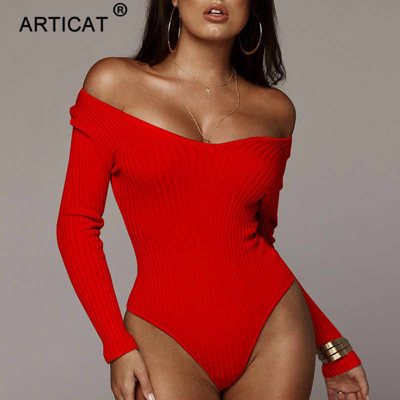 Articat 오프 어깨 늑골이있는 뜨개질을 한 섹시한 Bodysuit 여자 까만 V 목 여름 Rompers Womens Jumpsuit 기본적인 Playsuit Womens 정상