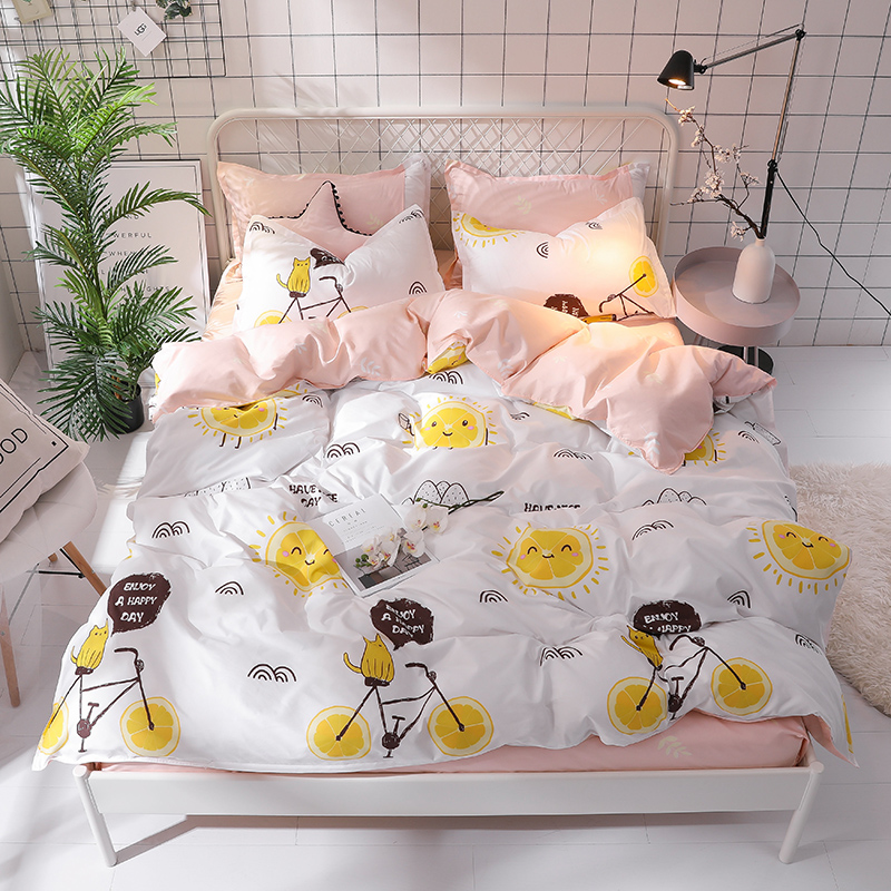Simple set of four sets of home textiles Brushed textiles Aloe cotton sheets quilt cover Cartoon children's bedding Comfor