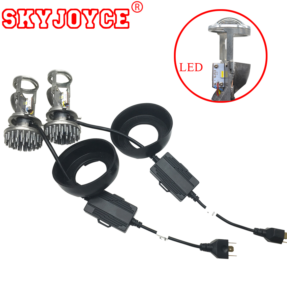 SKYJOYCE Mini LED Projector Lens H4 LED Headlight Bulbs LED Conversion Kit H4 LED Bulb Light Lamp Hi/Lo Beam Headlight LHD H4 60w 6000lm h4 led light headlight vehicle car hi lo beam bulb kit 6000k white fe9