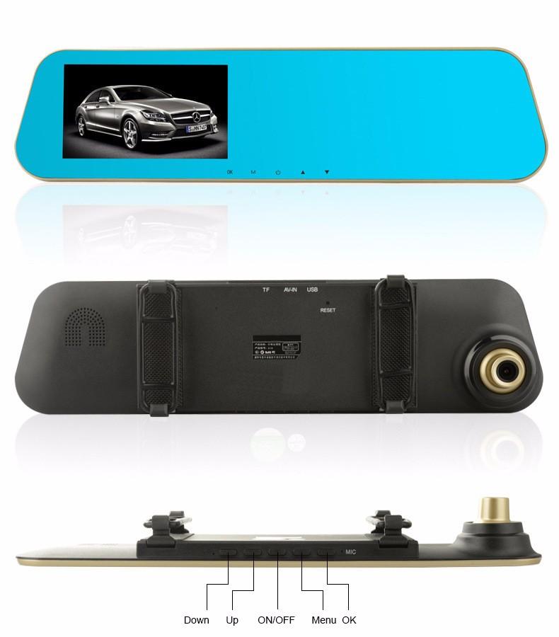 Jansite 1080P Car Dvr Blue Review Mirror Dual Lens Car Camera two cameras Loop record Recorder Auto Registrator Camcorder 29
