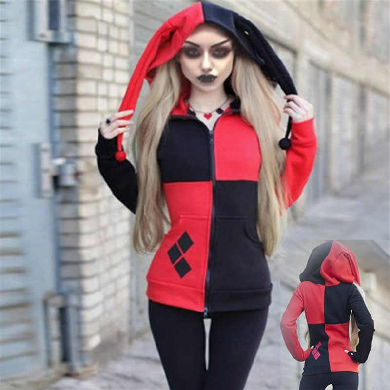 Suicide Squad Harley Quinn Joker Cosplay Hoodie Jacket Adult Girls Halloween Stitching Hooded Clown Sweater Zipper Jacket 4Color