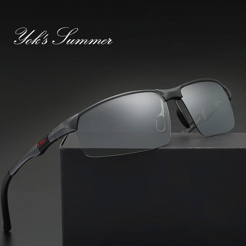 Yok летние поляризационные Хамелеон солнцезащитных очков изменение фотохромные линзы вождения очки ультра легкий военный очки HN036