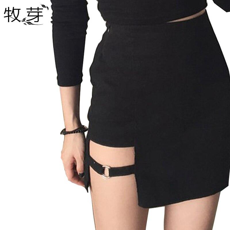 2018 alta cintura asimétrica gap Slit mini falda seductora sexy ata el lazo del Club de Noche del lápiz partido faldas