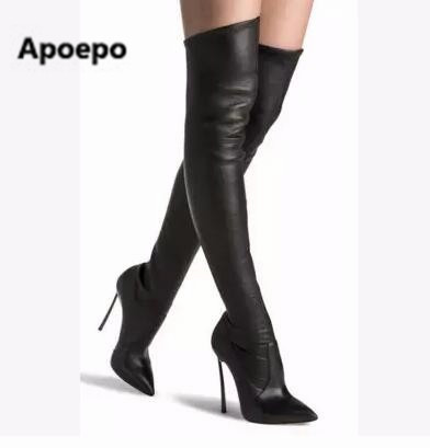 Apoepo brand 2017 Women winter boots High Heels Thigh High Boots Stretch Fabric Boots suede leather Black women long Boots