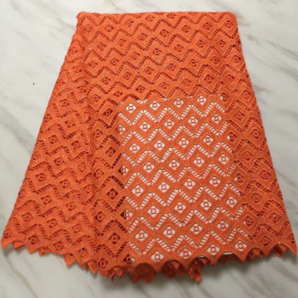 Beautiful Design African Guipure Lace Material With Stones Latest African Guipure Cord Lace Fabric Online orange