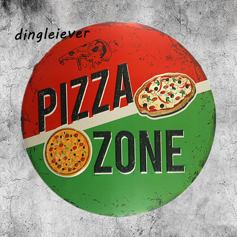 PIZZA ZONE Italy features classic metal sign kitchen wall decor poster design
