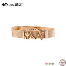 все цены на Heart Rose Gold Silver DIY Charm Stainless Steel Bracelet  Mesh Bangles Women Men Bracelet sterling heart for girls gifts
