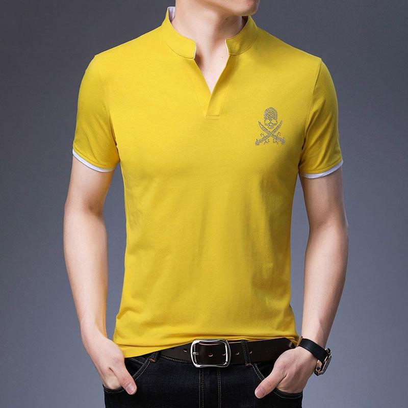 Solid Mens   POLO   Shirt Cotton Skull Print Casual Turndown Collar Breathable Summer High Quantity Golf Tennis   POLOS   Jerseys Short