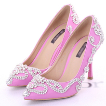 Glamorous Popular Pink Wedding Shoes Bridal Party High Heels with Rhinestone Pointed Toe Three Inch Party Prom Heels