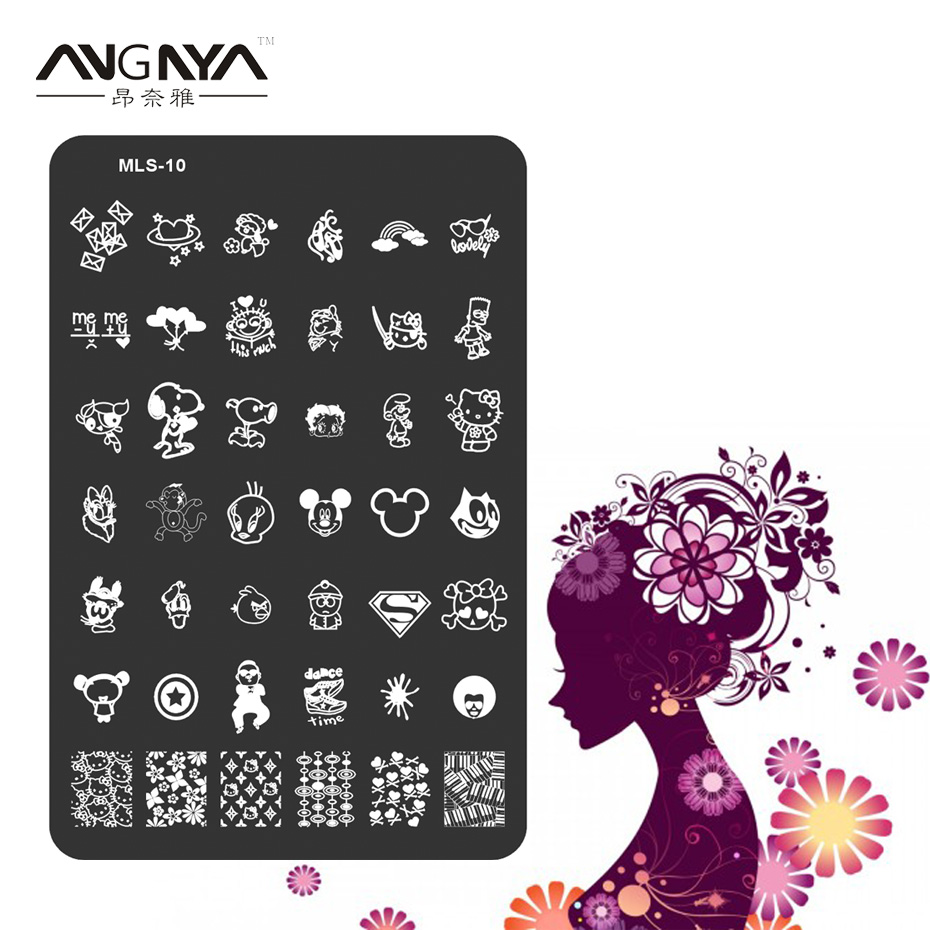 ANGNYA 1PC MLS Series Nail Art Image Plate Stainless Steel Cartoon Animal Design Nail Template Manicure Stencil Tool MLS-10