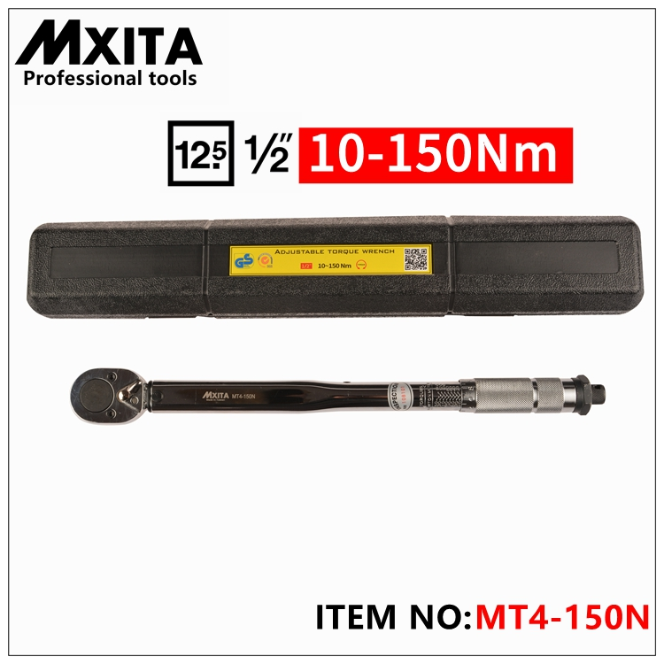 MXITA 1/2 10-150NM professional Torque Wrench Tools Click Adjustable Hand Spanner Ratchet Wrench Tool mxita 1 4dr 2 14n m manual torque wrench spanner ratchet wrench suit for repairing bicycle packed in plastic storage box