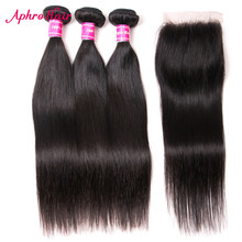 Aphro Brazilian Straight Hair Weave Bundles Natural Black Color 100% Non Remy Human Hair 3 Bundles With Lace Closure Free Part