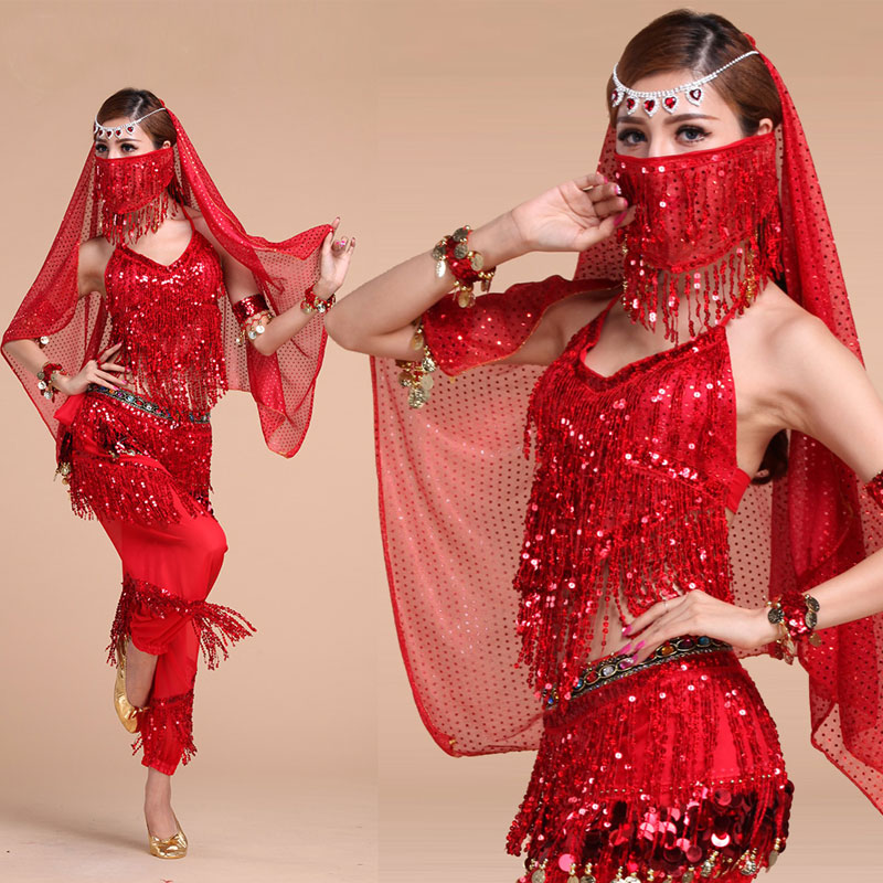 Belly Dance Costume Set Women for Performance <font><b>Bollywood</b></font> Competition Sexy Sequin <font><b>Tops</b></font> India Flamenco Salsa Oriental Bellydance image