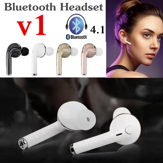Mini Wireless Stereo V1 Bluetooth Headset Earphone Handsfree With Mic Headphones For iPhone 6 7 Samsung S7 S8 S6 Xiaomi and More high quality 2016 universal wireless bluetooth headset handsfree earphone for iphone samsung jun22