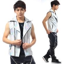 Fashion Silver Laser PU Vest costumes Nightbar Male singer dancer stage show costumes Men's performance vest