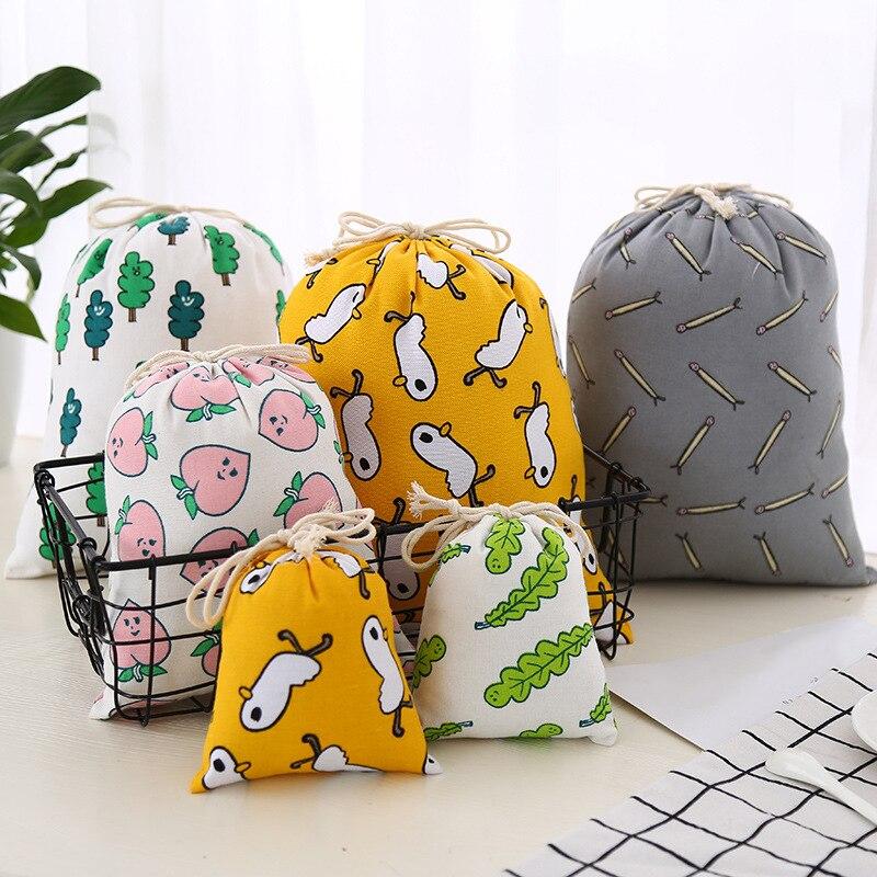 30PCS / LOT Reusable Drawstring Cotton Bag Portable Multifunctional Pouch Cartoon Cute Cosmetic Bags Travel Makeup Bag Wholesale