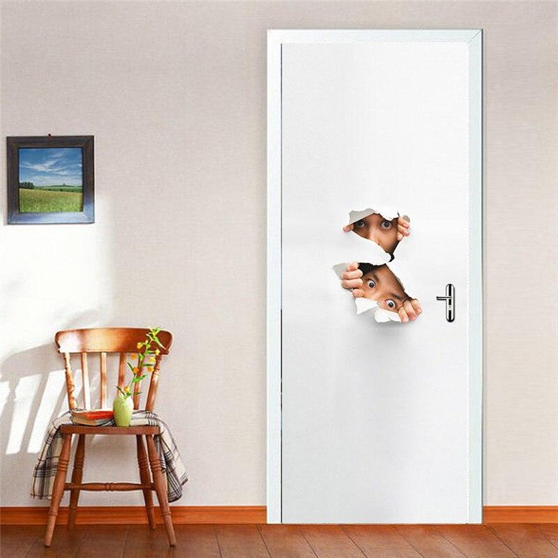 Image 5 - Peeping Eyes забавные оккатированные 3D настенные двери Стикеры гостиная спальня настенные наклейки домашний Декор ПВХ имитация 3D двери стикер s-in Дверные наклейки from Дом и животные