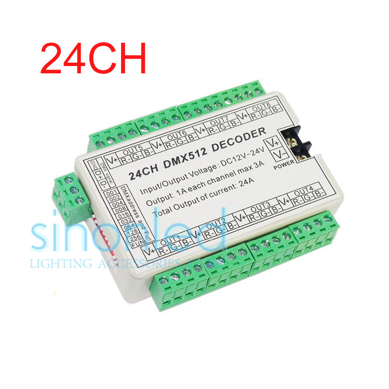 24CH Channels 3A/Ch DMX512 Easy DMX LED Decoder,Controller,Dimmer,Drive DC5V-24V ,8 groups RGB output For LEDs Strip Modules fast shipping 3pcs 24ch dmx512 controller decoder ws24luled 24 channel 8groups rgb output dc5v 24v for led strip light module