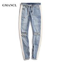 GMANCL Men New Streetwear Ripped skinny Jeans hip hop Men Side stitching Knee Holes Ankle zipper Destroyed Joggers Denim Pants