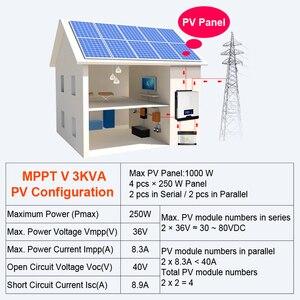 Image 5 - POWLAND 3kva שמש מהפך 2400W 220V 40A MPPT 3Kva טהור סינוס גל מהפך 50Hz כבוי גריד מהפך 24V סוללה מטען inversor