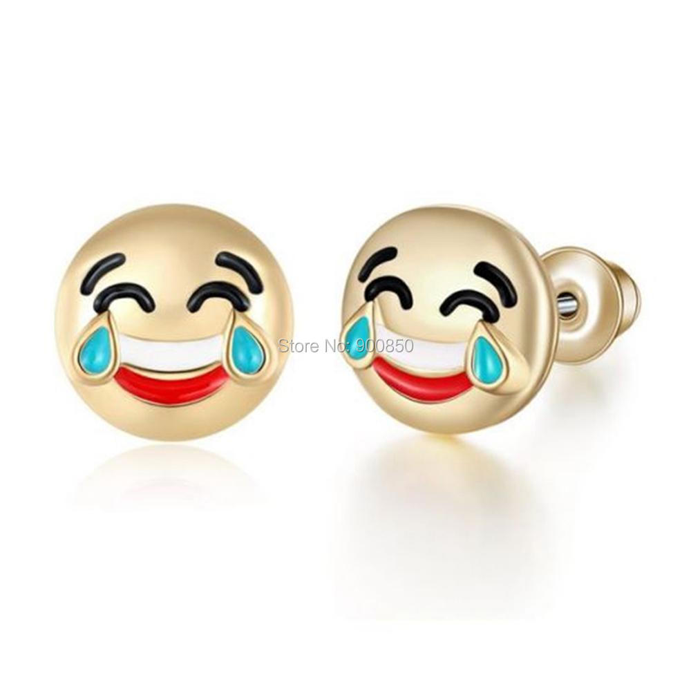 pin earrings emoji poop and boxes gift small stud