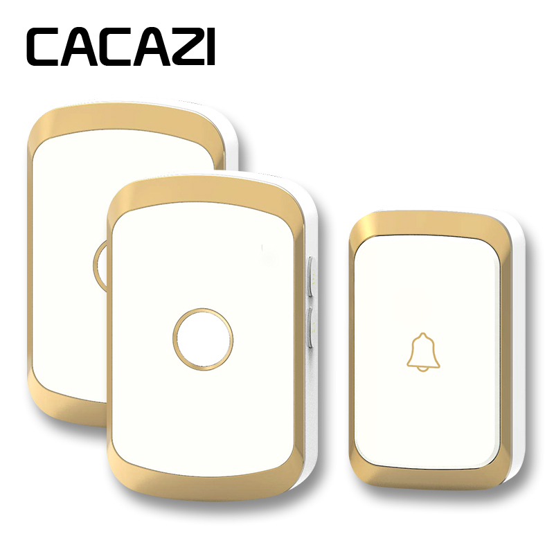 цена на CACAZI newest wireless doorbell waterproof AC 110-220V 300M remote door bell 36 melody 4 volume 1 button+2 receivers door chime