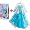 Girls princess elsa dress with crown magic wand and braid fantasias infantis para menina vestido elza disfraz infantil nina