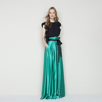 Turquoise Women Long Skirts High Quality A Line Floor Length Pleated Maxi Skirt With Black Ribbon