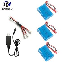 7.4v 1100mAH 18500 15c For MJX T10 T11 T34 HQ 827 871 Lipo Battery with USB Charger For Remote control helicopter 7.4 v battery(China)