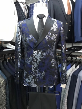 NEW style Men Wedding Suits Slim Fit 2 Pieces Double-breasted Tuxedo Groom men floral flower suits wedding mens suit with pants
