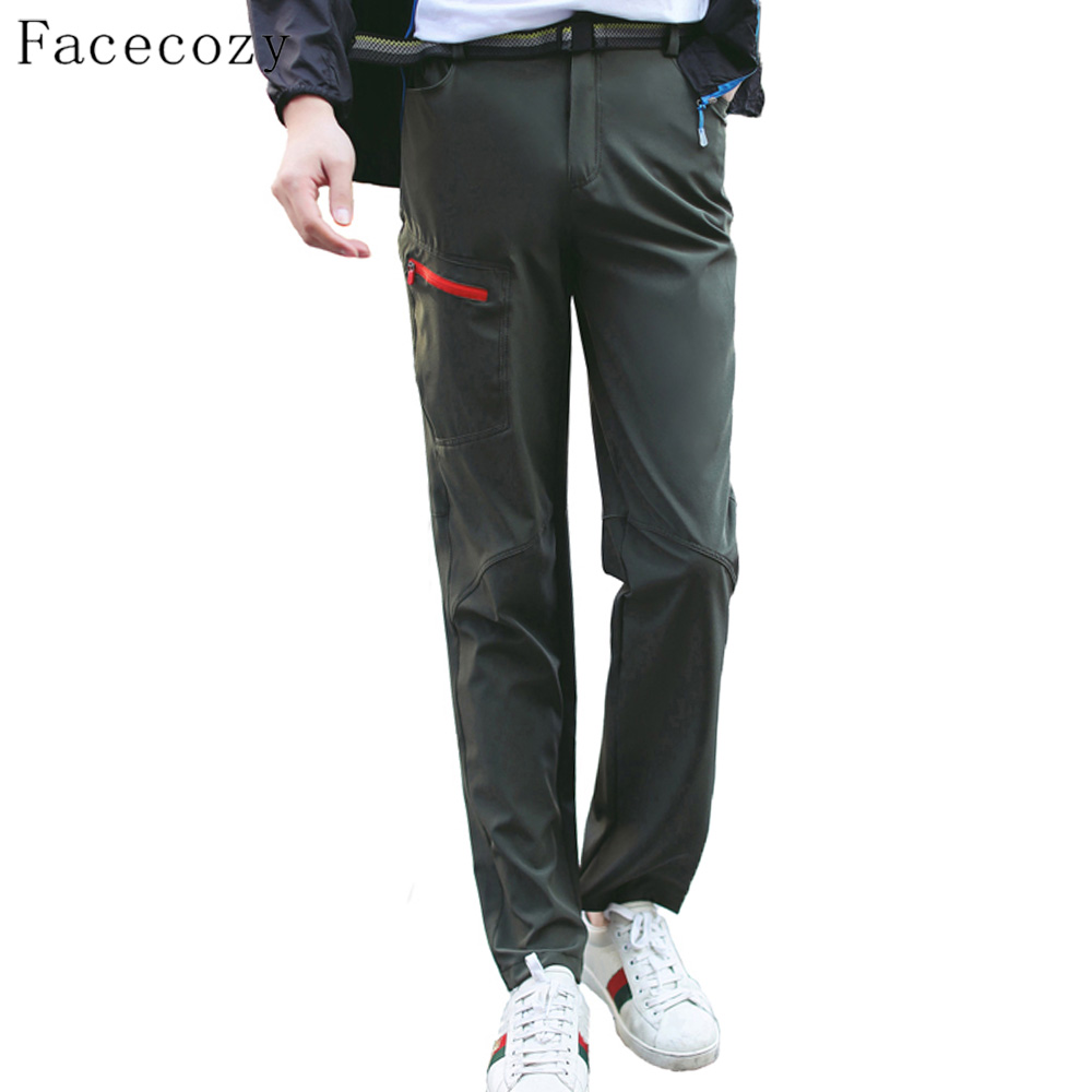 Facecozy Men&Women Summer Outdoor Hiking Quick-Dry Pants Breathable Solid Slim Trousers Climbing Fishing Outdoor Sports цена
