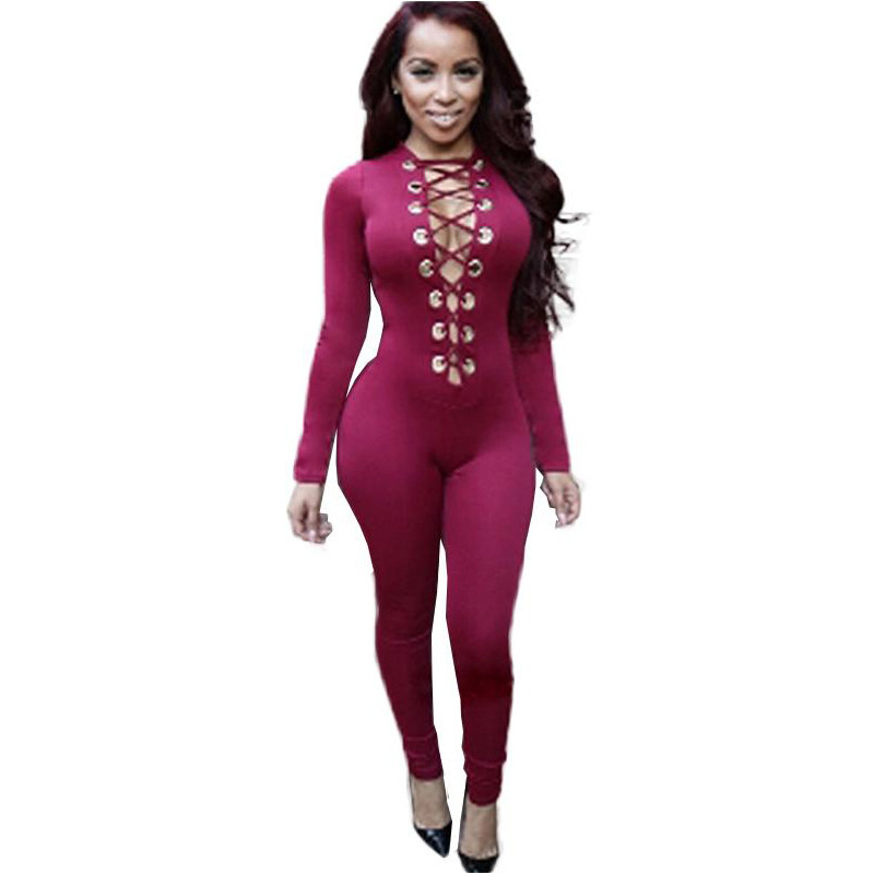 Sexy Deep V Neck Metal Ring Lace Up Jumpsuit Romper Women Party Clubwear Slim Long Sleeve Jumpsuit Bodysuits Female W860427