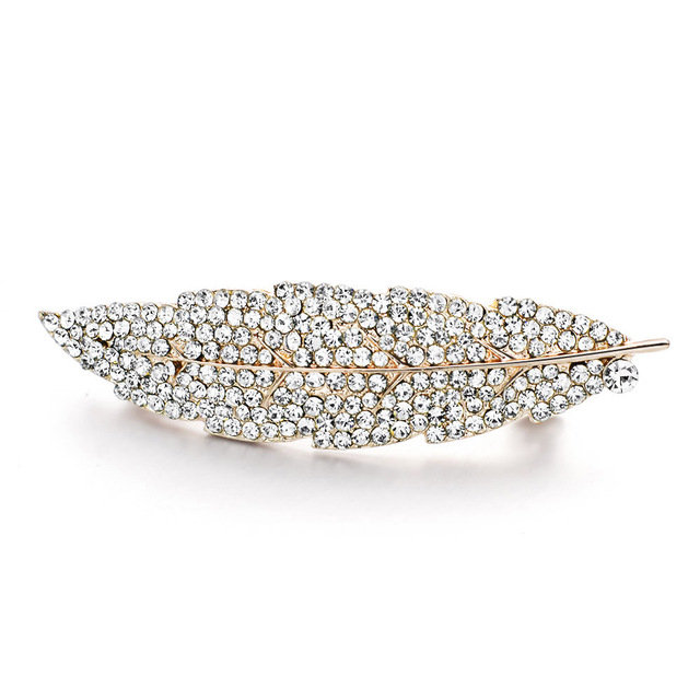 Feather Shaped Crystal Hair Clip