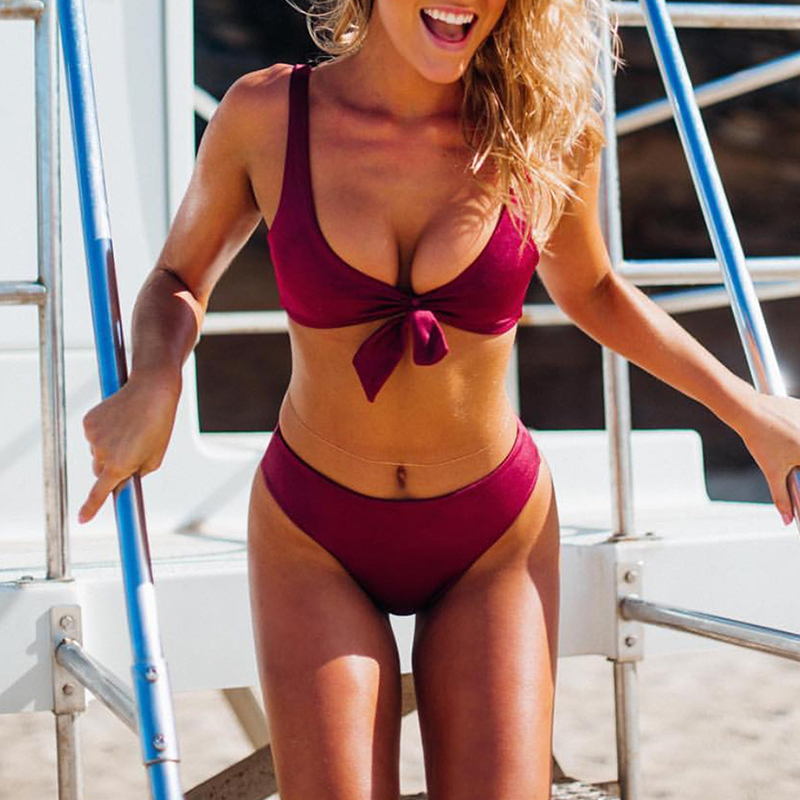 2018 New Beach Halter Bikini Set Women Sexy Swimwear High Neck Bathing Suit Hot Swimsuit Push Up Maillot De Bain Biquini lyseacia women bikini 2017 high neck swimwear women pink bikinis set swimsuit solid color bikini sexy halter maillot de bain