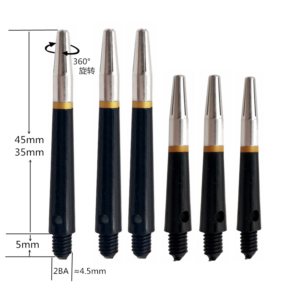 Cavalier 45mm/35mm Free Shipping Professional 2BA 360degree Spin Nylon And Aluminum Dart Shaft Plastic Dart Accessories