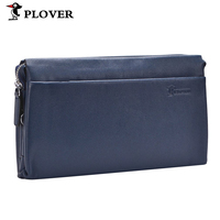 PLOVER Multipurpose Clutch Genuine Leather Wallets Men Carrying Bag Business Handbag Cow Leather High Capacity Long