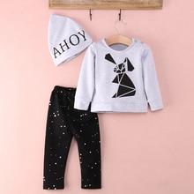 3pcs!!Autumn Winter New Toddler Baby Boy Girl Rabbit Long Sleeve Sweatshirt + Polka Dot Pants Hat 3pcs Outfits Set