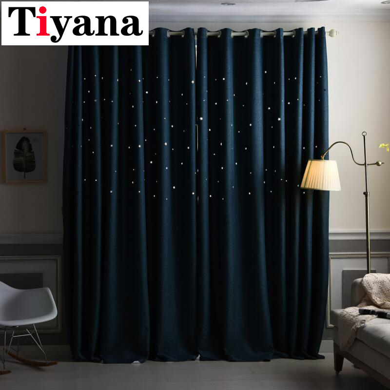 Tiyana Solid Insulated Thermal Insulated Thermal Curtains Bedroom Blackout Cloth Summer Romantic Cortinas JK038X