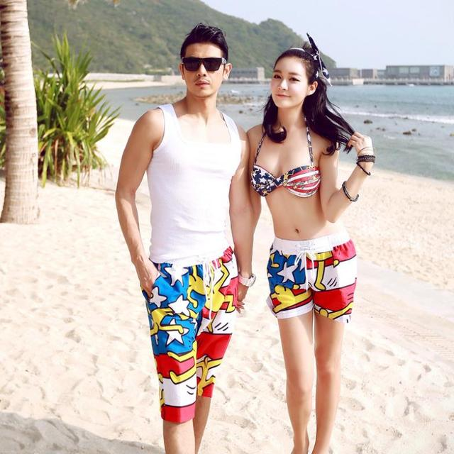 Whole New 2017 Of Men And Women Beach Pants Casual Resort Wear Shorts Swimsuit Steel