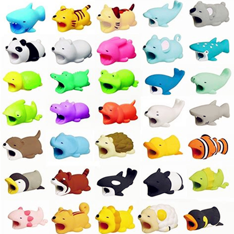 Cable bite Glow In Dark Protector for IPhone Winder Phone Prank Toy Pvc Animal dog cat rabbit Doll model Funny glow in the dark flower pattern protective plastic front back skin protector for iphone 5 5s