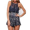 2016 New Summer Lace Rompers Womens Jumpsuits Shorts Sleeveless Sexy Hollow Out Club Lace Elegant Jumpsuit Playsuit Bodysuit