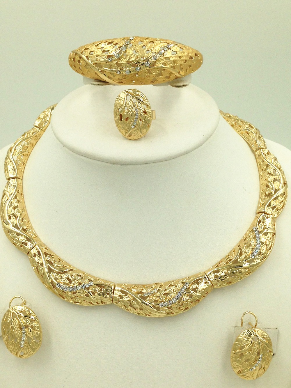 2015 Dubai Design Fashion Necklace Set Dubai 18K Gold Plated ...