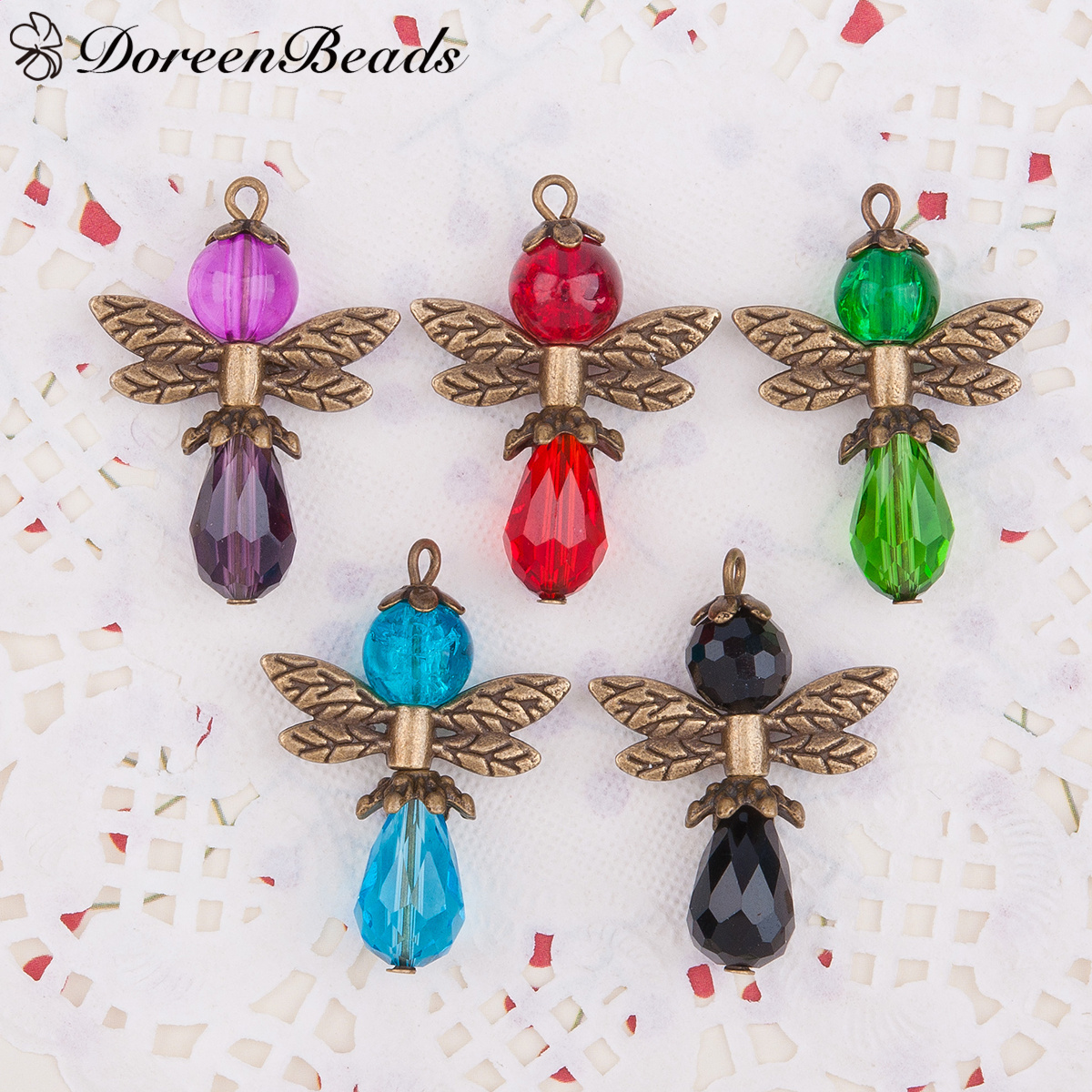 Guardian Angel Wing Charms Pendants Drop Antique Bronze With Glass Multicolor Bead 3.1cm x 2.2cm,1 Set(5 PCs/Set)