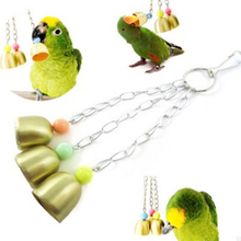 1pcs of 3 bells Squirrel Bell Medium Large Parrot Toy Stainless Steel Cage Stand Pet Products Bird Supplies